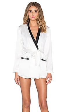 fleur du mal x PLAYBOY Smoking Jacket in White & Black