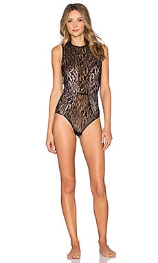 fleur du mal Chat Noir Lace Bodysuit in Black
