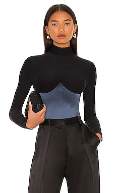 Mock Neck Long Sleeve Bodysuit fleur du mal $395