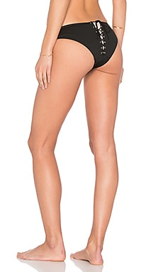fleur du mal Lace Back Bikini Bottom in Black