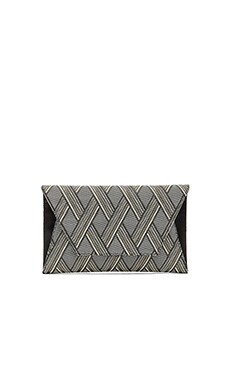 FLYNN Fergie Clutch in Black & White & Gold