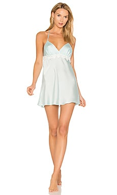 Mira Texture Satin Lace Chemise in Bridal Blue