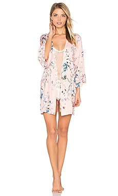 Vanesa Printed Knit Belted Kimono in Pink