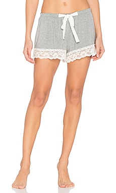 Snuggle Knit Lace Shorts en Gris Chiné