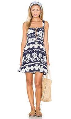 FLYNN SKYE Leila Lace Up Dress in Vintage Navy