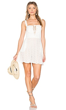 Leila Lace Up Mini Dress in White Eyelet