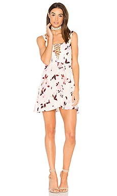 Leila Lace Up Mini Dress in Scattered Roses