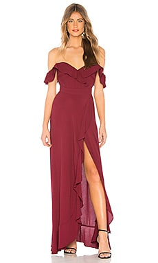Torn By Ronny Kobo Ruthie Dress In Burgundy Revolve