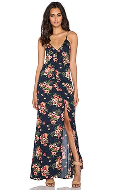 FLYNN SKYE Kennedy Maxi Dress in Navy Poppy