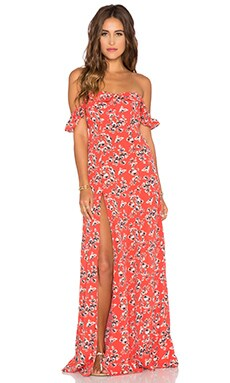 FLYNN SKYE x REVOLVE Bardot Maxi Dress in Red Ditsy
