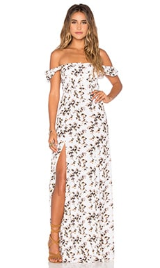 FLYNN SKYE Bardot Maxi Dress in Sunshine Bliss