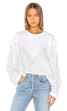Sinead Pinstripe Crystals Boyfriend Crew Sweatshirt Frankie B $158