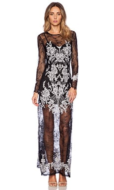 For Love & Lemons Lacey Dreams Maxi Dress in Black