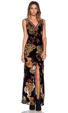 For Love & Lemons Dusty Rose Maxi Dress in Rose Burnout