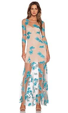 For Love & Lemons Orchid Maxi Dress in Aqua