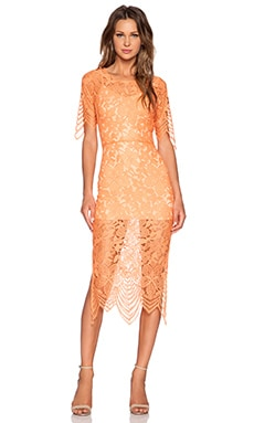For Love & Lemons Luna Midi Dress in Tropical Orange