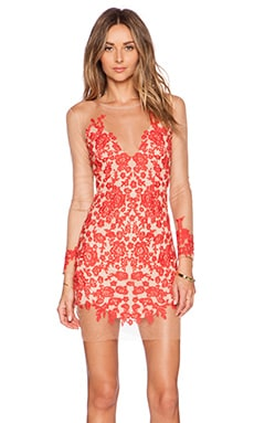 For Love & Lemons Luau Mini Dress in Red & Nude