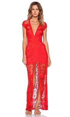 For Love & Lemons Mariposa Maxi Dress in Hot Red