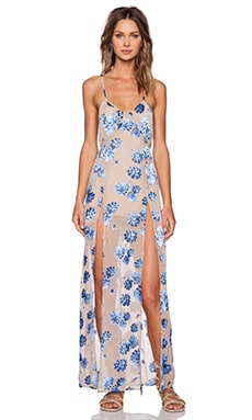 For Love & Lemons Marina Maxi Dress in Blue Sand