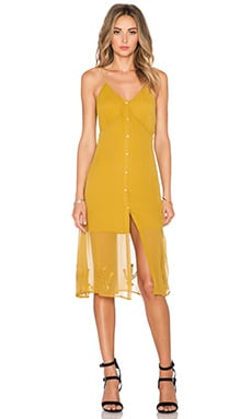 For Love & Lemons Prickly Pear Dress in Mustard Gold