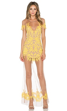 For Love & Lemons Luau Maxi Dress in Primrose & Nude