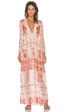 For Love & Lemons Barcelona Maxi Dress in Creme