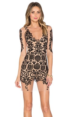 For Love & Lemons Lotus Mini Dress in Black & Nude