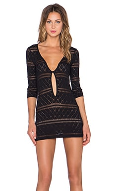 KNITZ by For Love & Lemons Stevie Mini Dress in Black