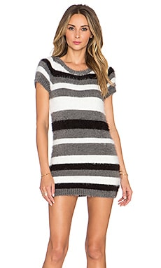 KNITZ by For Love & Lemons Fleetwood Sweater Dress in Grey Stripe