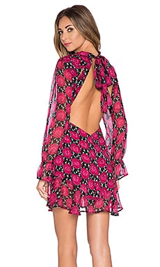 For Love & Lemons Clover Mini Dress in Crimson Print