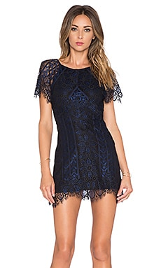 For Love & Lemons Lyla Mini Dress in Navy & Black