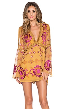 For Love & Lemons Barcelona A-Line Dress in Old Gold