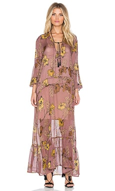 For Love & Lemons Santa Rosa Maxi Dress in Golden Floral