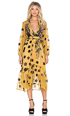 For Love & Lemons Heather Scarf Midi Dress in Mustard
