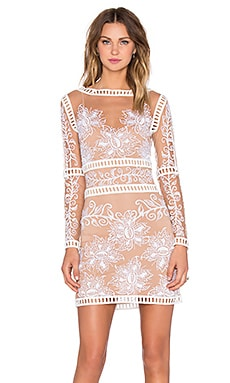 For Love & Lemons Desert Nights Mini Dress in White & Nude
