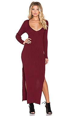 KNITZ by For Love & Lemons Everyday Knit Maxi Dress in Maroon