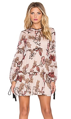 For Love & Lemons Santa Rosa Mini Dress in Blush Floral