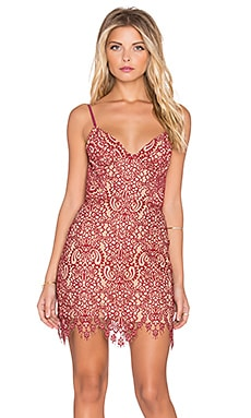 For Love & Lemons Vika Mini Dress in Red & Nude