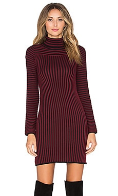 KNITZ by For Love & Lemons Switch Stripe Turtleneck Dress in Maroon Stripe