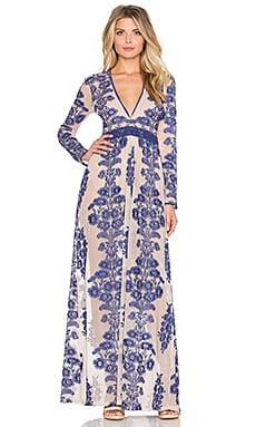 For Love & Lemons Temecula Maxi Dress in Navy