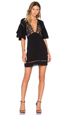 For Love & Lemons Carmine Mini Dress in Black