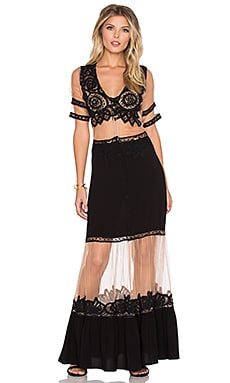 For Love & Lemons Carmine Maxi Dress in Black
