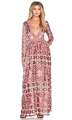 For Love & Lemons Juliet Maxi Dress in Maroon