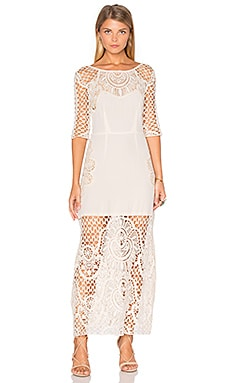For Love & Lemons Gracey Midi Dress in Vintage Ivory