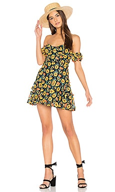 Amelia Strapless Mini Dress in Sunflower