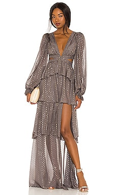 X REVOLVE Tiered Ruffle Gown For Love & Lemons $330