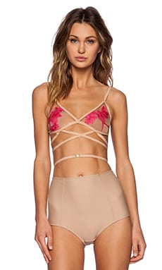 SKIVVIES by For Love & Lemons Orchid Bondage Bra in Pink & Nude