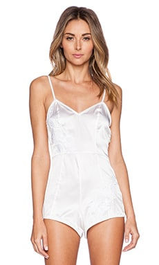 For Love & Lemons Satin Playsuit in White