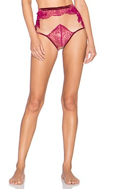 SKIVVIES by For Love & Lemons Flower Blossom Hi Waist Panty in Scarlet