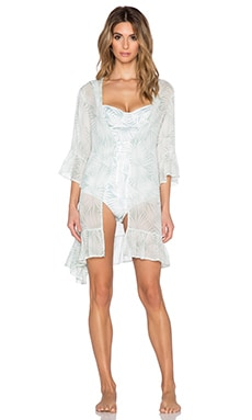 SKIVVIES by For Love & Lemons Desert Palm Robe in Sage